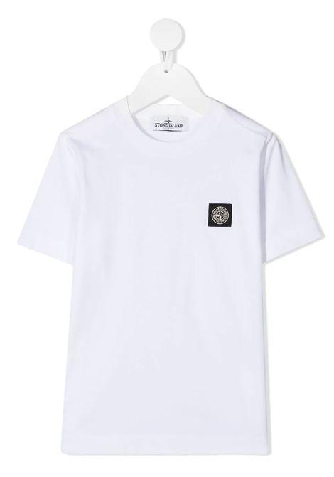 T-shirt Bianca Bambino in Cotone con Logo STONE ISLAND JUNIOR | T-Shirts | 741620147V0001