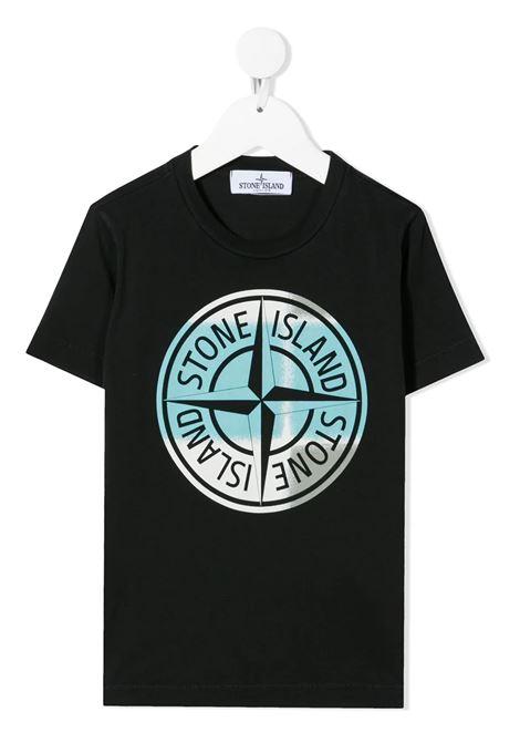 T-Shirt Nera Bambino Con Stampa PIN CAMO STONE ISLAND JUNIOR | T-Shirts | 741621052V0029