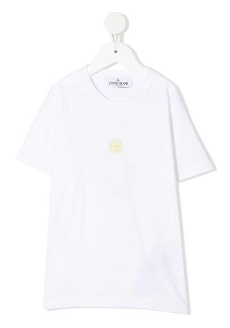 White Kid T-Shirt With Contrast Logos STONE ISLAND JUNIOR | t-shirts | 741621057V0001