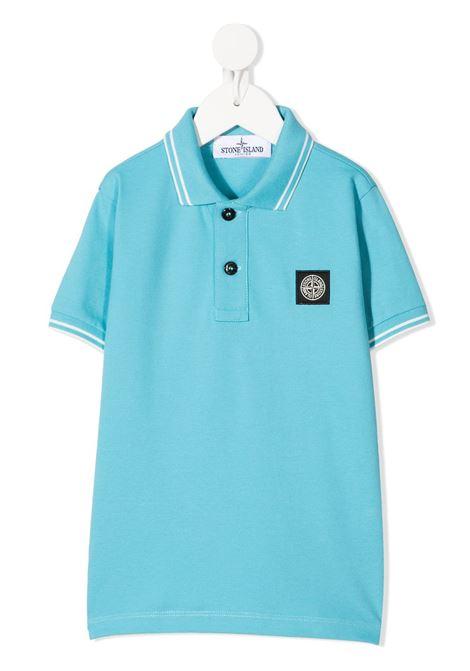 Light Blue Kid Polo Shirt With Contrast Stripes STONE ISLAND JUNIOR | Polo shirts | 741621348V0042