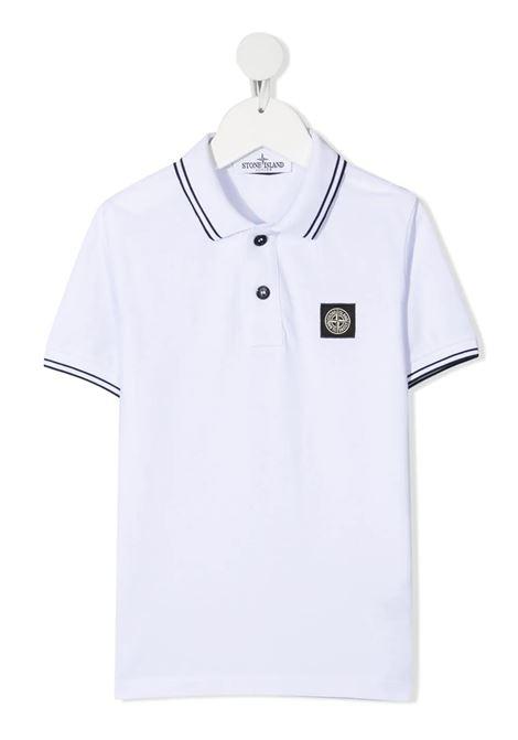 White Kid Polo Shirt With Contrast Stripes STONE ISLAND JUNIOR | Polo shirts | 741621348V1001