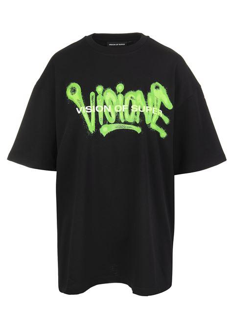T-Shirt Uomo Visione Nera e Verde VISION OF SUPER | T-Shirts | VOS/B1SPRAYBLACK/GREEN