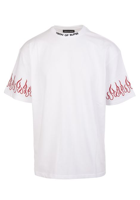 T-Shirt Bianca Uomo Con Fiamme Rosse Ricamate VISION OF SUPER | T-Shirts | VOS/W1WHITE/RED
