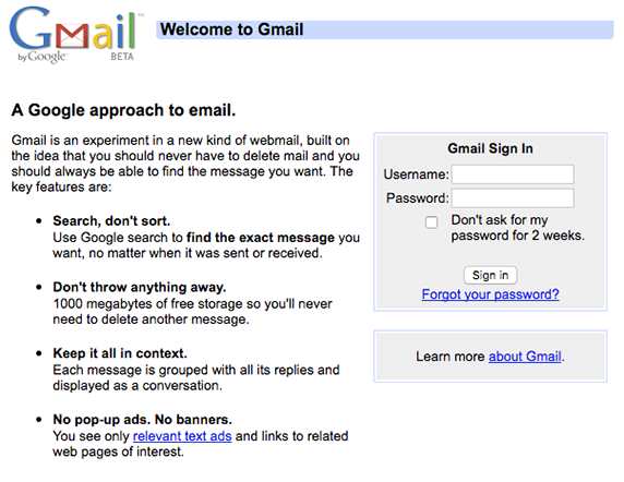 2004 Gmail, a different time...