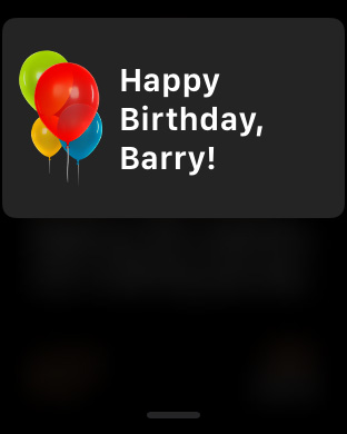 Apple Watch Birthday Notification