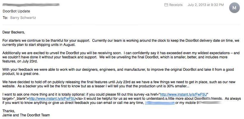 DoorBot Backer Email