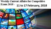 Weekly Current Affairs, Weekly Current Affairs 2018, weekly Current Affairs