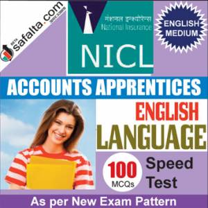 Buy NICL Accounts Apprentices 100 Mcqs English Language Speed Test @ safalta.com