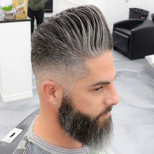 Cool hairstyle and beard for older men pompadour fade with beard