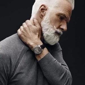 White long pulled back hairstyles older men 1