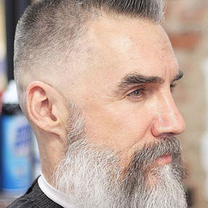 Bald fade crew cut long beard
