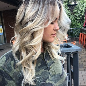 Foilyage  highlights  haircut    style   frontal side view   douglas carroll salon   downtown   may 9th  2018