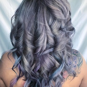 Laura botello    color  blow dry    curls   guy tang my dentity dusty lavendar   silver smoke   rouge a katherine lazier salon   march 11th  2017