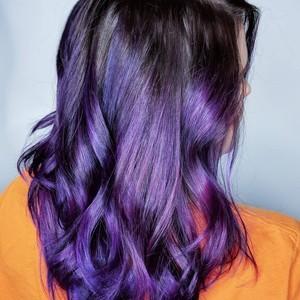 Ame deaton   purple balayage  haircut    style   tone hair salon   november 4th  2018