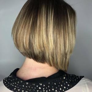 Color   angled bob haircut   side view   tone hair salon   october 27th  2018
