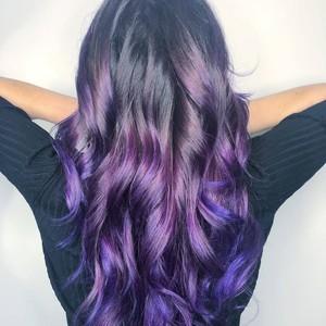Deborah dickinson   purple balayage  haircut    style   tone hair salon   back   november 14th  2018