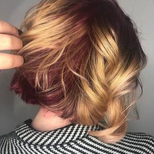 Sarah cunningham   color  balayage  haircut    style   tone hair salon   back   side   november 24th  2018