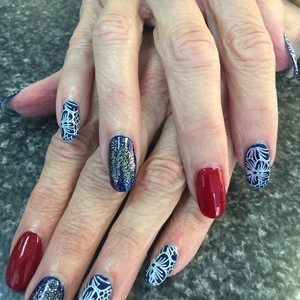Red blue nails