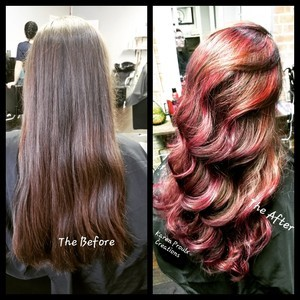 Before and after brunette red highlights long hair