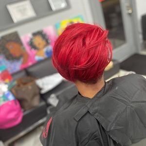 Red hair cut