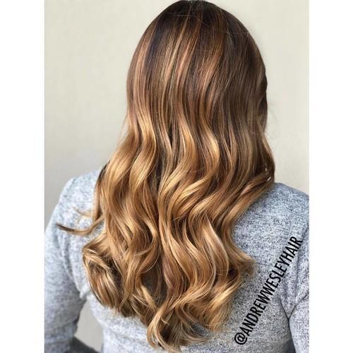 Winter springs caramel balayage hair