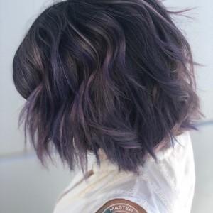 Winter springs purple balayage hair by sam