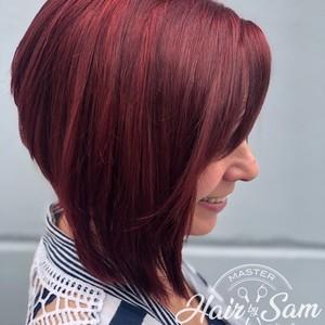 Winter springs red bob hair cut hair by sam