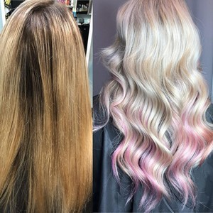 Winter garden blonde hair with pops of color