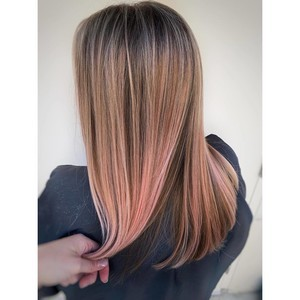 College park orlando peach rose balayage hair
