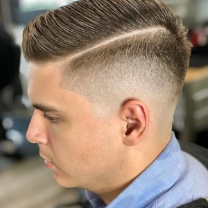College park orlando mens combover with low skin fade hair cut