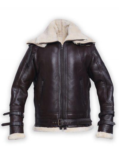 Men B3 Brown Shearling Leather Jacket