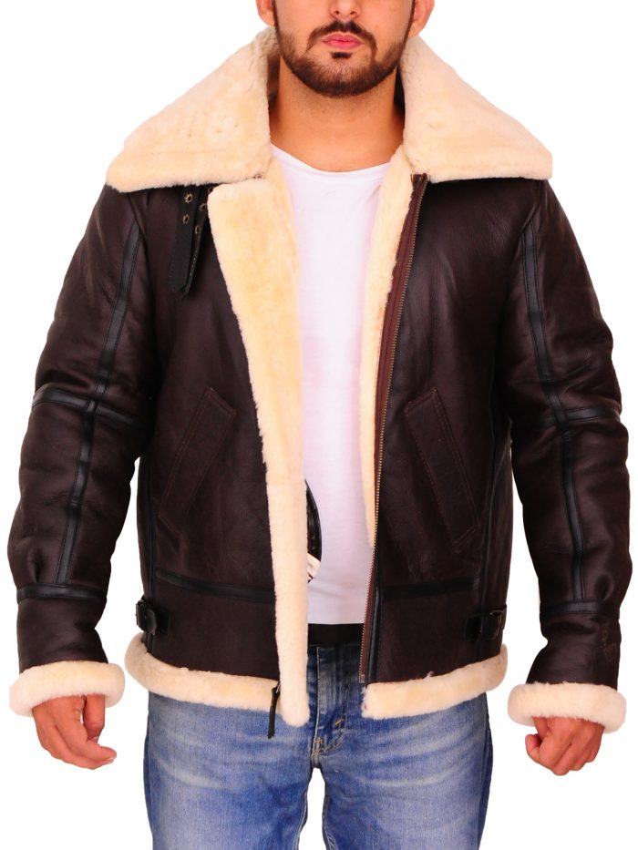 Men B3 Sheepskin Brown Shearling Bomber Jacket