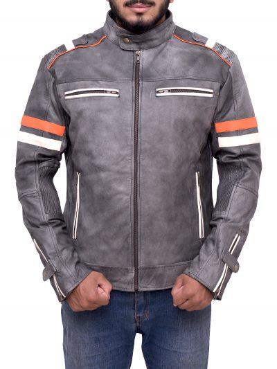 Men's Biker Vintage Motorcycle Cafe Racer Retro Jacket