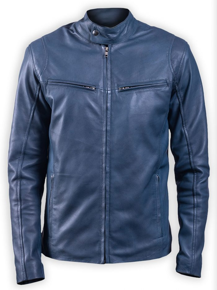 Men Ionic Blue Full Zip Biker Leather Jacket