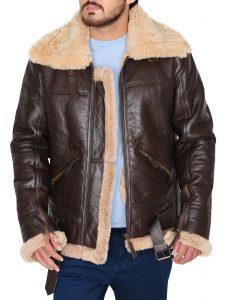 RAF B3 Sheepskin Shearling Brown Bomber Leather Jacket For Men