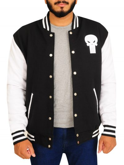Black & White Skull Varsity Jackets For Men