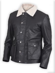 Snow Cole Real Black Leather Jacket For Men