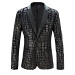 Men's Black Blazer Jacket Fur and Leather Tuxedo
