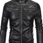 Punk Style Black Leather Jacket For Men