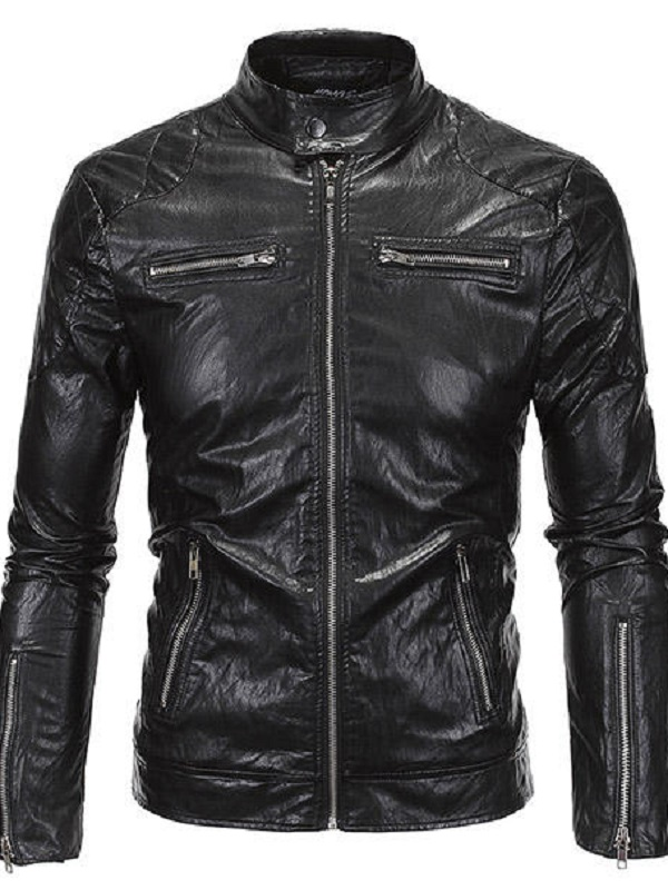 Punk Style Black Leather Jacket For Men