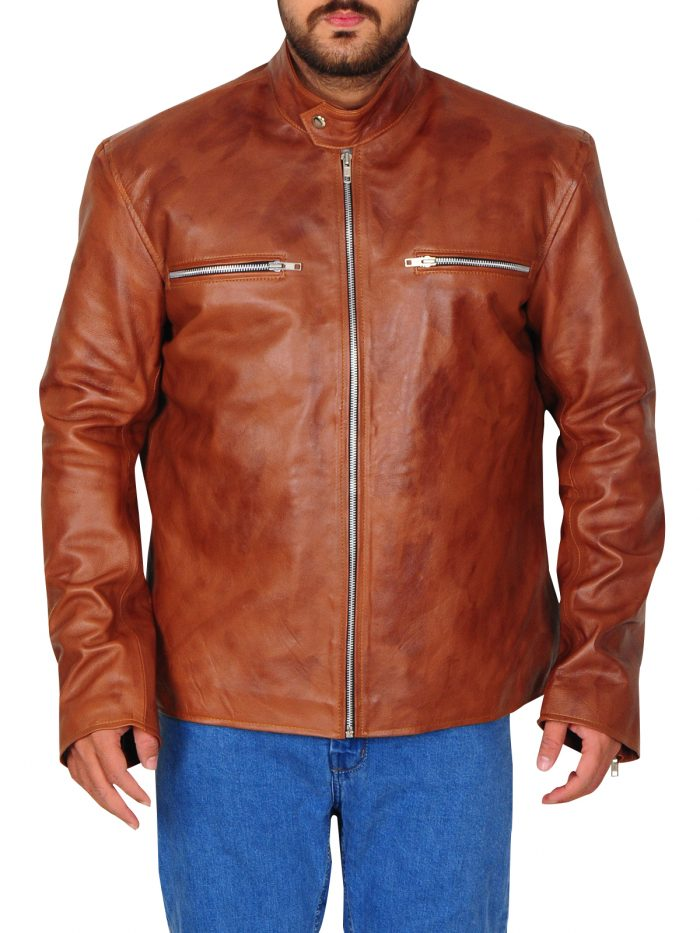 Classic Tan Brown Leather Jacket For Men