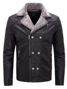Motorcycle Faux Fur Leather Jacket For Men