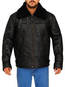 Aviator B3 Shearling Sheepskin Black Leather Jacket For Men