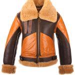 Brown B3 Aviator Pilot Flight Bomber Leather Jacket For Men