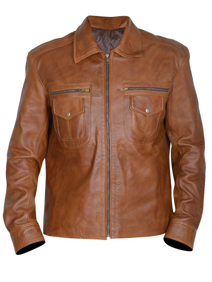 Classic Full Zip Brown leather Jacket For Men