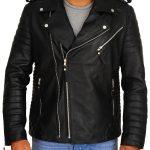 Black Moto Style Quilted Biker Jacket For Men