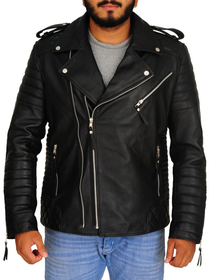 Black Moto Style Quilted Biker Jacket For Men