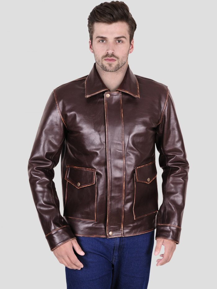 Simple Brown Leather Men Jacket