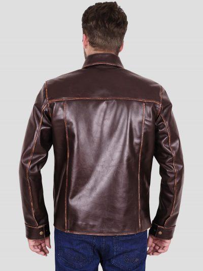 Simple Brown Leather Men Jacket