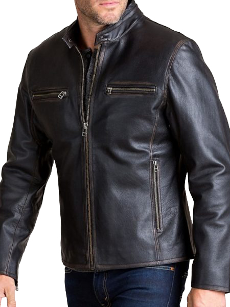Black Stand Collar Faux Leather Jacket For Biker Men